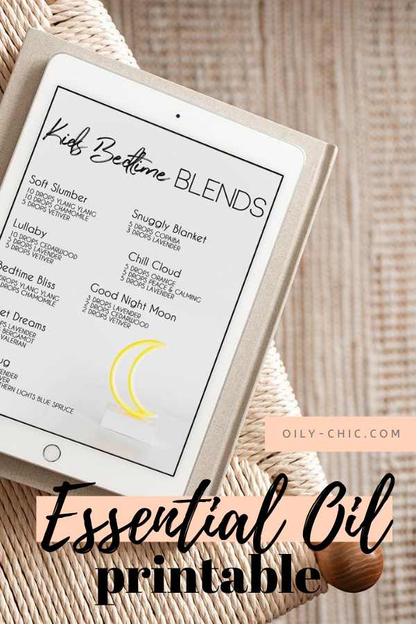 kids bed time essential oil blend printable