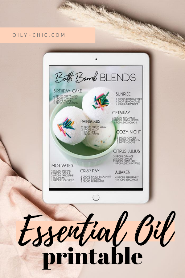 Our printable essential oil blends are a great place to find inspiration for the perfect bath bomb scents.