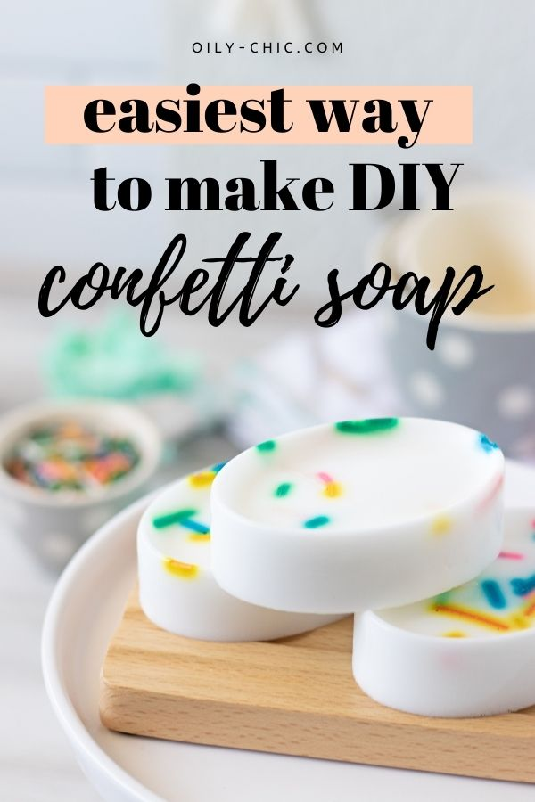 Have you ever tried an essential oil soap recipe? This fun confetti soap for kids is bizarrely easy to make!