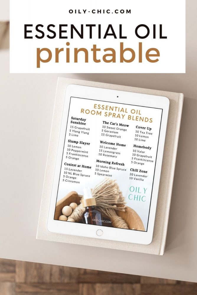 Print all 9 essential oil room spray recipes with this free printable from the Oily Chic Library!