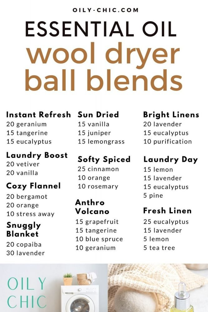 Print all of these 10 dryer ball essential oil recipes on one printable from our Oily Chic Library. Hang it in your laundry room to create new blends and make a wool dryer ball dropper.